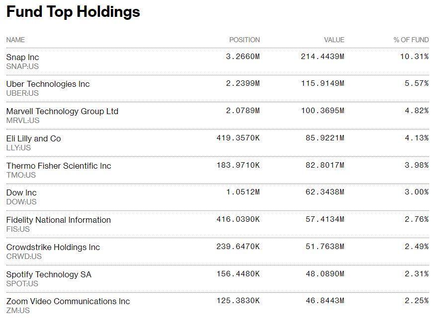第一信托美国股票机会ETF的十大持股