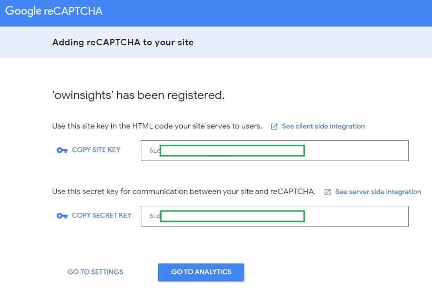 reCAPTCHA Site and Secret key samples