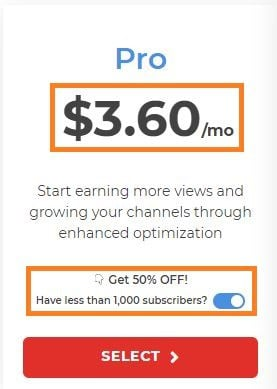 50% for pro plan
