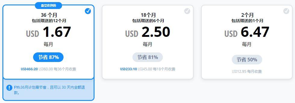 VyprVPN价格表