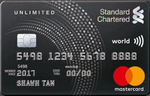 新加坡渣打银行Unlimited Cashback信用卡