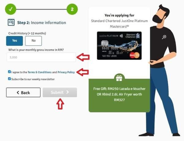 申请马来西亚standard chartered信用卡第三步